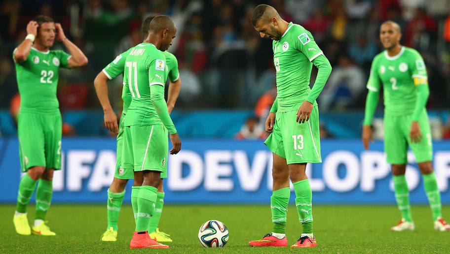 PORTO ALEGRE, BRAZIL - JUNE 30: Yacine Brahimi and Islam Slimani of Algeria wait to kick off in extra time during the 2014 FIFA World Cup Brazil Round of 16 match between Germany and Algeria at Estadio Beira-Rio on June 30, 2014 in Porto Alegre, Brazil.  (Photo by Julian Finney/Getty Images)