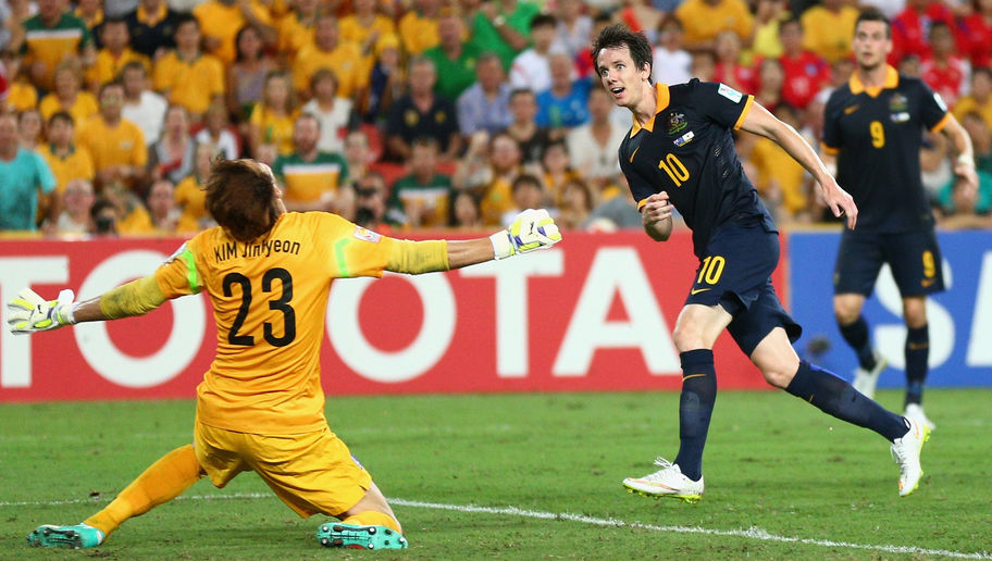 BRISBANE, AUSTRALIA - JANUARY 17: Robbie Kruse of the Socceroos takes a shot at goal during the 2015 Asian Cup match between Australia and Korea Republic at Suncorp Stadium on January 17, 2015 in Brisbane, Australia.  (Photo by Cameron Spencer/Getty Images)