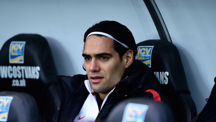 SWANSEA, WALES - FEBRUARY 21:  Manchester United player Radamel Falcao looks on from the substitutes bench before the Barclays Premier League match between Swansea City and Manchester United at Liberty Stadium on February 21, 2015 in Swansea, Wales.  (Photo by Stu Forster/Getty Images)