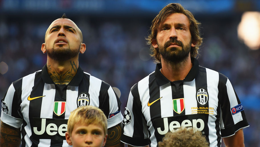 BERLIN, GERMANY - JUNE 06:  Arturo Vidal and Andrea Pirlo of Juventus line up prior to the UEFA Champions League Final between Juventus and FC Barcelona at Olympiastadion on June 6, 2015 in Berlin, Germany.  (Photo by Shaun Botterill/Getty Images)