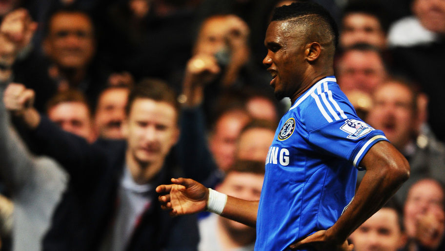 LONDON, ENGLAND - MARCH 08:  Samuel Eto'o of Chelsea does an 'Old Man' celebration after scoring his team's first goal during the Barclays Premier League match between Chelsea and Tottenham Hotspur at Stamford Bridge on March 8, 2014 in London, England.  (Photo by Mike Hewitt/Getty Images)