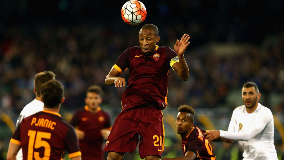 MELBOURNE, AUSTRALIA - JULY 18:  Seydou Keita of AS Roma heads the ball during the International Champions Cup friendly match between Real Madrid and AS Roma at the Melbourne Cricket Ground on July 18, 2015 in Melbourne, Australia.  (Photo by Robert Prezioso/Getty Images)