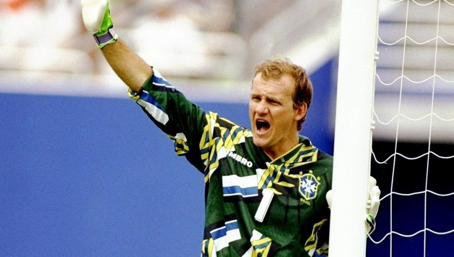 9 Jul 1994:  Brazil goalkeeper Claudio Taffarel shouts to team mates during the World Cup quater-final against Holland at the Cotton Bowl in Dallas, Texas, USA. Brazil won the match 3-2. \ Mandatory Credit: Chris  Cole/Allsport