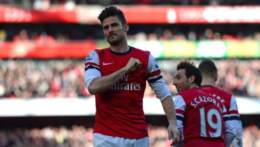LONDON, ENGLAND - FEBRUARY 22:  Olivier Giroud of Arsenal celebrates after scoring a goal during the Barclays Premier League match between Arsenal and Sunderland at Emirates Stadium on February 22, 2014 in London, England.  (Photo by Jamie McDonald/Getty Images)