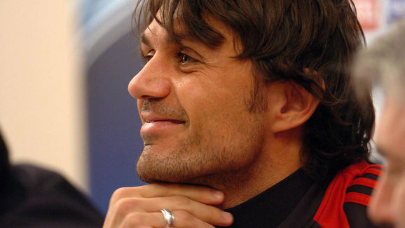 AC Milan's Paolo Maldini smiles during a