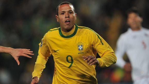 Brazil's striker Luis Fabiano celebrates