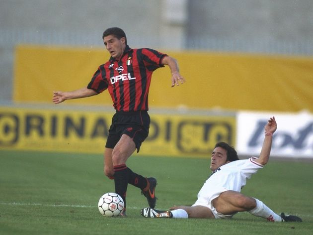 Daniele Massaro of AC Milan and Pellizzaro of Padova