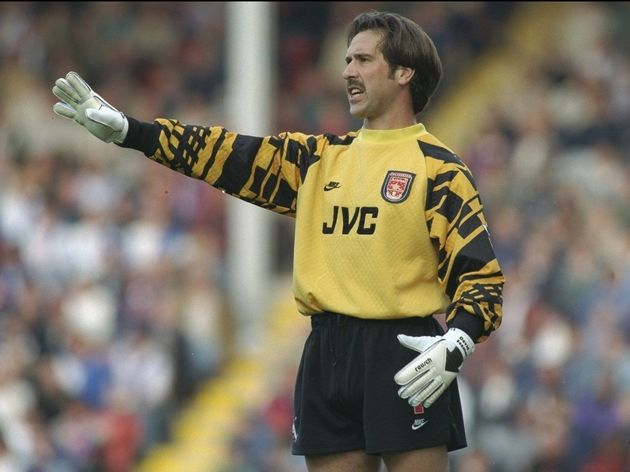 David Seaman of Arsenal gives the instructions