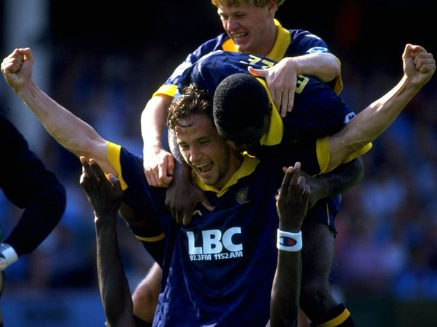 Dean Holdsworth, John Fashanu, Robbie Earle and Peter Fear of Wimbledon