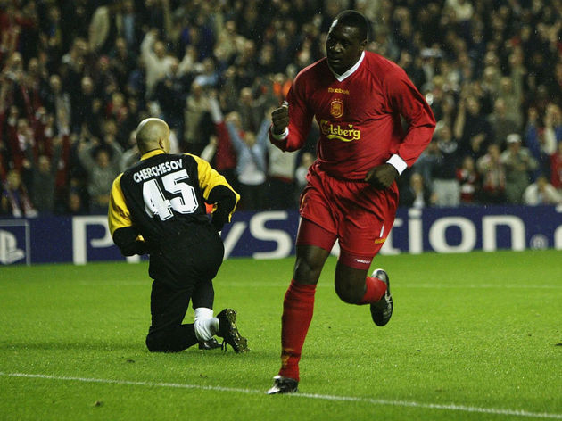 Emile Heskey celebrates the first goal