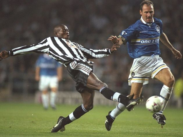Faustino Asprilla of Newcastle United and Dave Watson of Everton