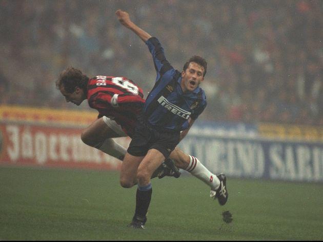 Franco Baresi of AC Milan and Maurizio Ganz of Inter Milan