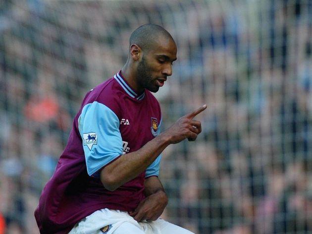 Frederic Kanoute of West Ham celebrates
