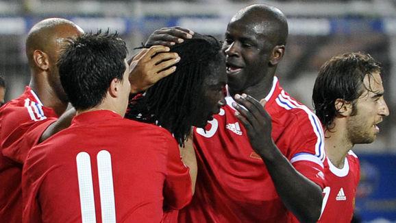 French forward Bafetimnbi Gomis (C) is c