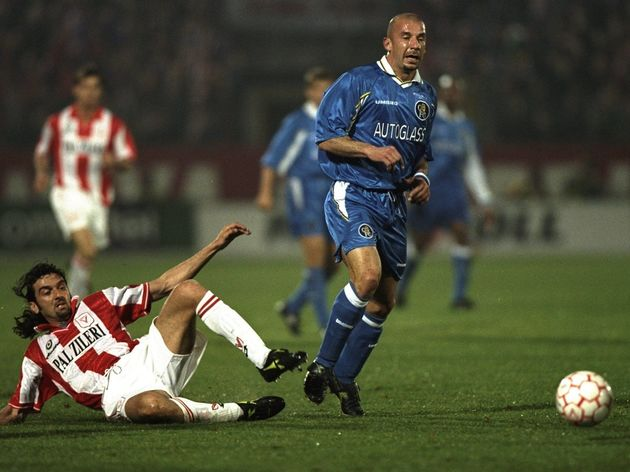 GianLuca Vialli of Chelsea feels the pain of a Vicenza tackle