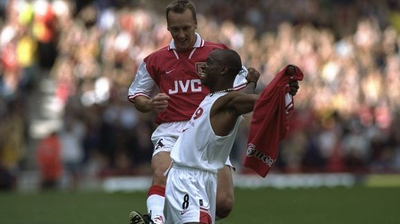 Ian Wright and Lee Dixon of Arsenal