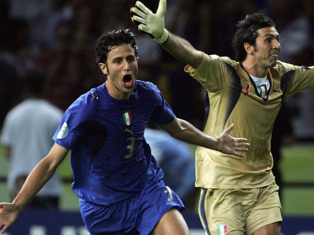 Italian defender Fabio Grosso (L), flank