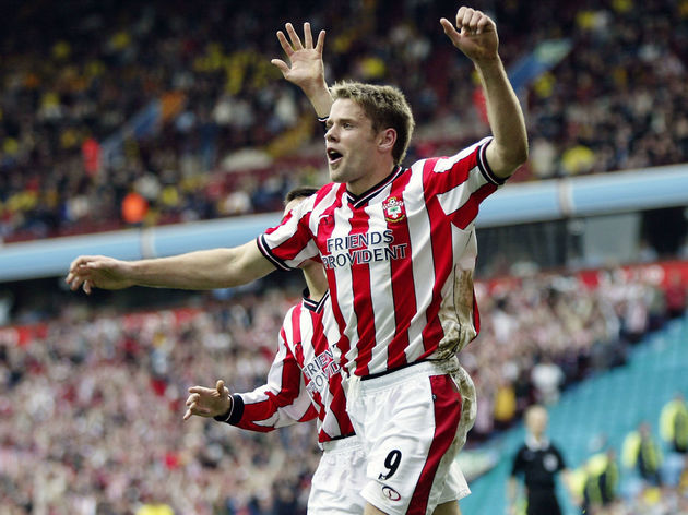 James Beattie of Southampton celebrates the second goal