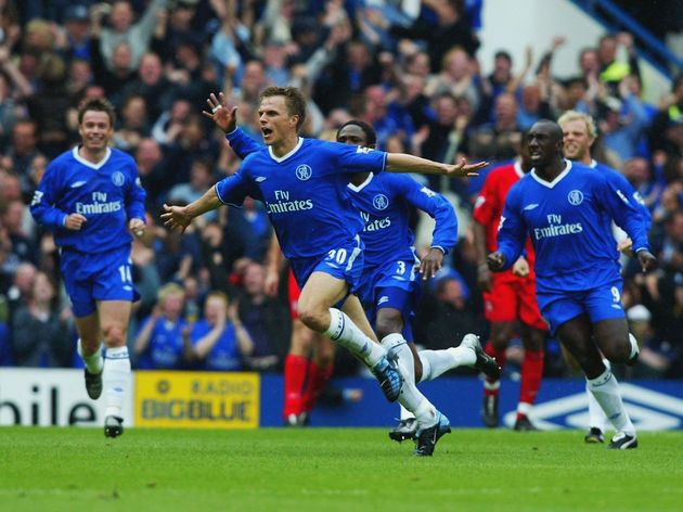 Jesper Gronkjaer of Chelsea celebrates scoring the winning goal