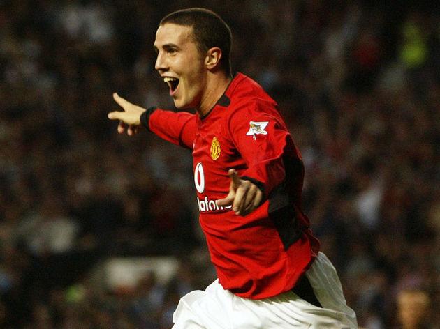 John O'Shea of Manchester United celebrates scoring