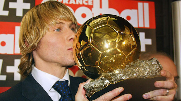 Juventus midfielder Pavel Nedved kisses,