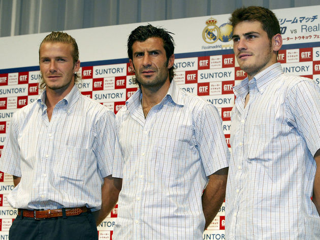 (L-R)David Beckham, Luis Figo and Iker Casillas of Real Madrid