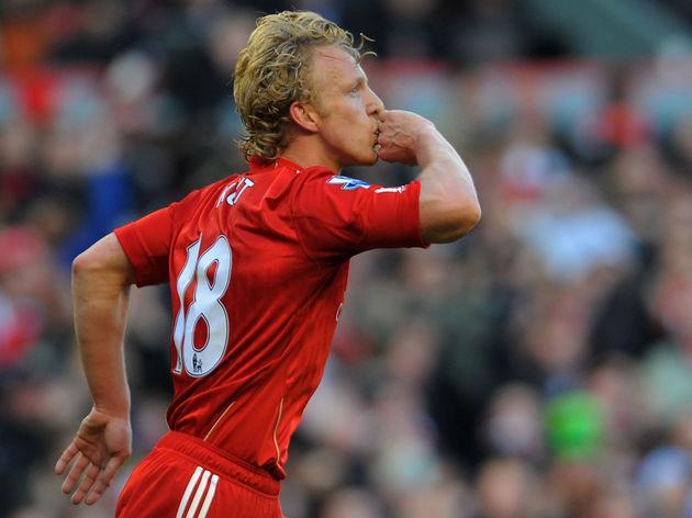 Liverpool's Dutch striker Dirk Kuyt cele