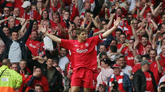 Liverpool's Steven Gerrard celebrates af