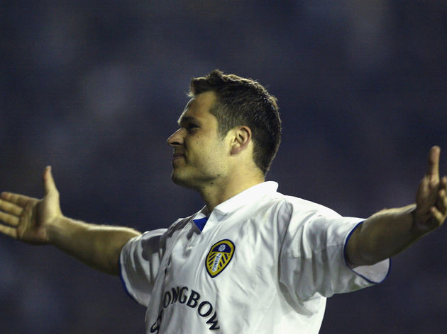 Mark Viduka of Leeds United celebrates scoring his second goal of the match
