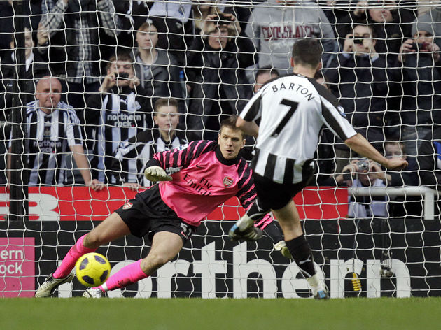 Newcastle United's Joey Barton (R) score