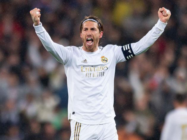 Sergio Ramos  celebrates after winning