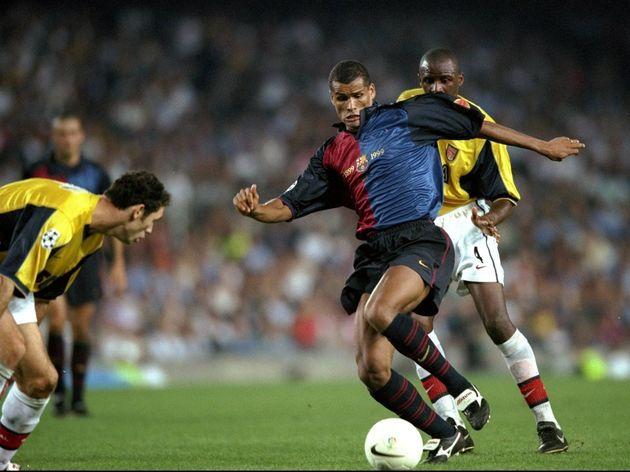 Rivaldo of Barcelona   Patrick Rieira and Martin Keown of Arsenal