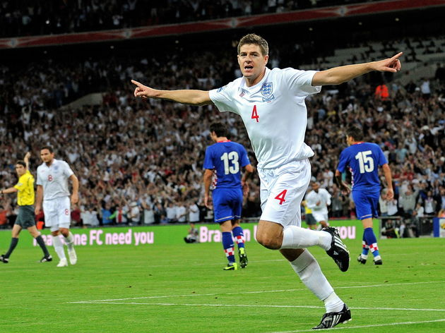 Steven Gerrard of England celebrates aft