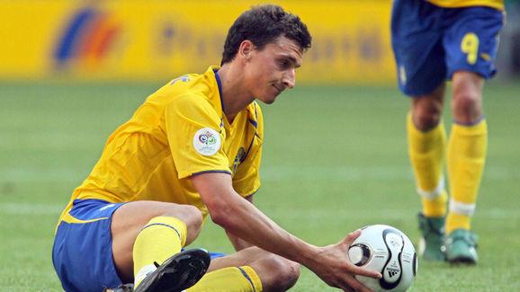 Sweden's Zlatan Ibrahimovic hands the ba