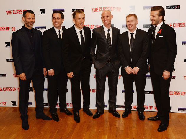 Paul Scholes,Phil Neville,David Beckham,Nicky Butt,Ryan Giggs,Gary Neville