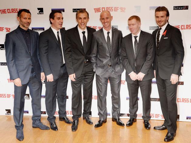 Paul Scholes,Phil Neville,David Beckham,Nicky Butt,Ryan Giggs,Gary Neville