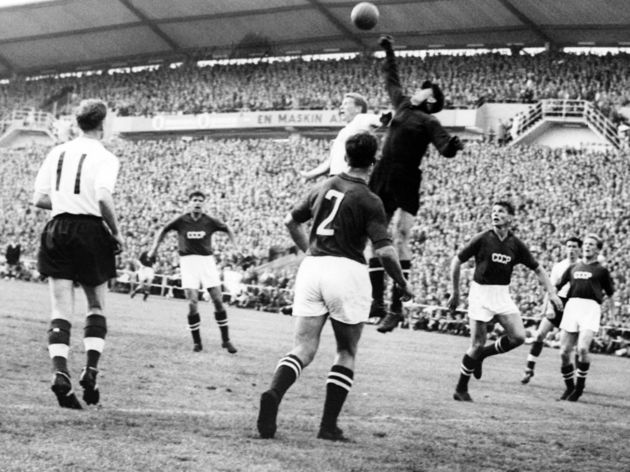 Goalkeeper Lev Yashin (black) from the S